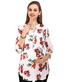 MomToBe 3/4th Sleeves Maternity A-Line Kurti - White