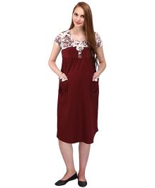 MomToBe Short Sleeves Maternity Dress Floral & Solid Combination - Maroon & White
