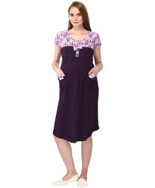 MomToBe Short Sleeves Maternity Dress Floral & Solid Combination - Purple & White