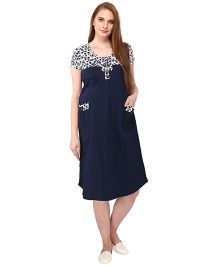 MomToBe Short Sleeves Maternity Dress Floral & Solid Combination - Navy Blue & White