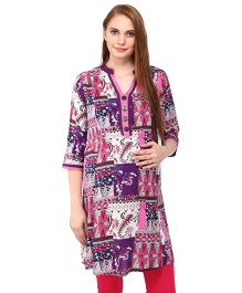 MomToBe Three Fourth Sleeves Maternity Kurti Printed - Purple