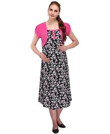 MomToBe Puff Sleeves Maternity Dress With Attached Shrug - Pink Black