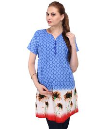 MomToBe Half Sleeves A-Line Maternity Floral Kurti - Blue Red