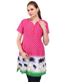 MomToBe Half Sleeves A-Line Maternity Floral Kurti - Pink Green