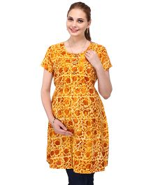 MomToBe Half Sleeves A-Line Maternity Printed Kurti - Yellow
