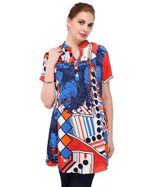 MomToBe Half Sleeves A-Line Maternity Kurti - Navy Blue & Multi Color