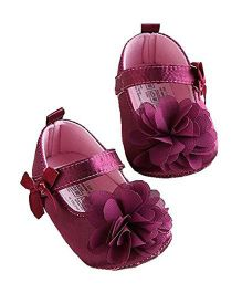 Bellazaara Mary Jane Crib Shoes - Plum