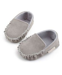 Bellazaara Casual Soft Sole Toddler Cotton Crib Shoes - Silver Grey