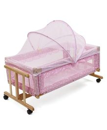 Star Print Wooden Cradle With Mosquito Net - Pink