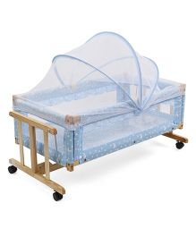 Star Print Wooden Cradle With Mosquito Net - Blue