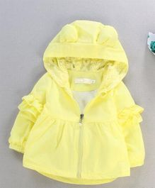 Pre Order - Awabox Lace Work Hooded Jacket - Yellow