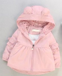 Pre Order - Awabox Lace Work Hooded Jacket - Pink