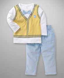 ToffyHouse Full Sleeves T-Shirt & Pant Set Bow Applique - Yellow & Blue