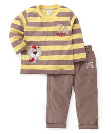 ToffyHouse Stripes T-Shirt And Pant Set - Yellow Grey