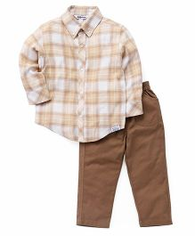 ToffyHouse Full Sleeves Checks Shirt And Pants Set - Brown Cream