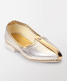 Ethnik's Neu Ron Mojari Shoes Plain - Silver Golden