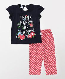 Teddy Short Sleeves Capri Night Suit Printed - Red Navy Blue