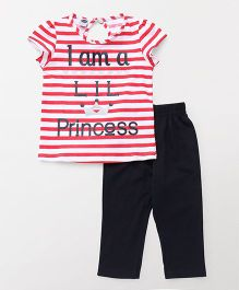 Teddy Short Sleeves Capri Night Suit Stripes Print - Red & Navy