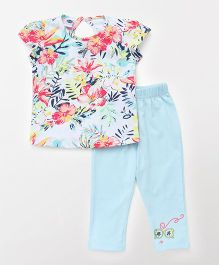 Teddy Short Sleeves Top With Capri Night Suit Floral Print - Blue