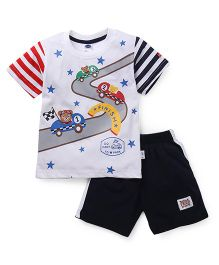 Teddy Half Sleeves T-Shirt And Shorts Car & Star Print - White Navy