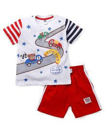 Teddy Half Sleeves T-Shirt And Shorts Car & Star Print - White Red