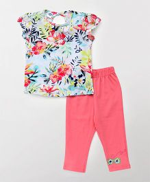 Teddy Short Sleeves Top With Capri Night Suit Floral Print - Pink