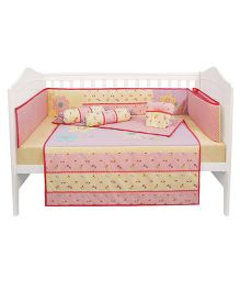Abracadabra Cot Bedding Set Floral Patch - Pink Yellow