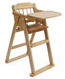Baby Wooden High Chair - Light Brown