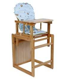 Wooden Highchair With Cushion - Blue & Brown