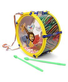 Lovely Pom Pom Drum With Two Sticks Big - Yellow & Green