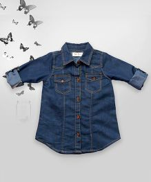 Bella Moda Solid Denim Shirt - Blue