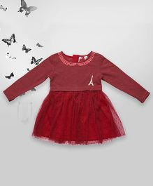 Bella Moda Full Sleeves Dress With Thread Work On Neck - Maroon
