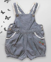 Bella Moda Solid Dungaree With White Border - Blue