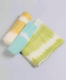 Little West Street Tie Dye Cotton Swaddle Set - Green Blue & Orange