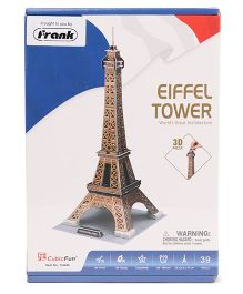 CubicFun Eiffel Tower France 3D Puzzle Brown - 39 Pieces