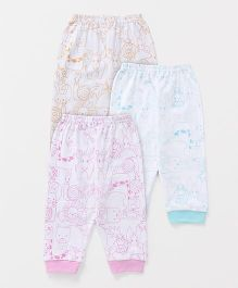 Zero Full Length Lounge Pants Animals Print On White Base Pack Of 3 - Peach Aqua Pink