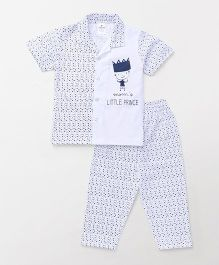 Ollypop Half Sleeves Night Suit Little Prince Print - White