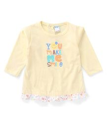 Tango Full Sleeves Frock You Make Me Smile Print - Light Yellow