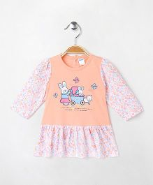 Tango Full Sleeves Frock Teddy Butterfly & Floral Print - Peach & White