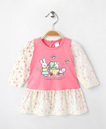 Tango Full Sleeves Frock Teddy Butterfly & Floral Print - Pink & White