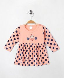 Tango Full Sleeves Frock Polka Dots & Heart Print - Peach & Navy