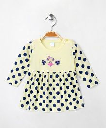 Tango Full Sleeves Frock Polka Dots & Heart Print - Yellow & Navy