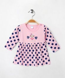 Tango Full Sleeves Frock Polka Dots & Heart Print - Pink & Navy