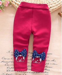 Lilpicks Couture  Winter Bow Applique Leggings - Dark Pink