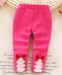 Lilpicks Couture  Winter Bow & Lace Applique Legging - Pink