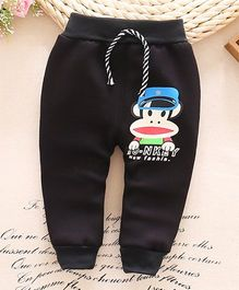 Lilpicks Couture Full Length Winter Wear Pant Monkey Print - Black