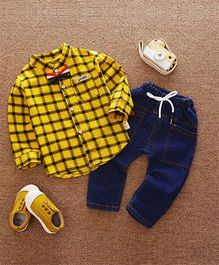 Pre Order - Wonderland Checkered Shirt With Bow Tie & Pant - Yellow