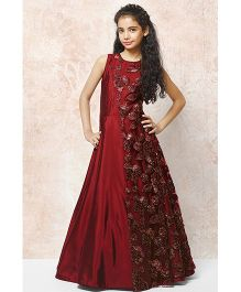 Peek-A-Boo Embroidered Ball Gown - Maroon