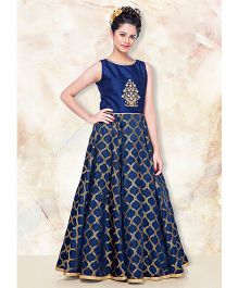 Peek-A-Boo Beautiful Gown With Golden Work - Royal Blue