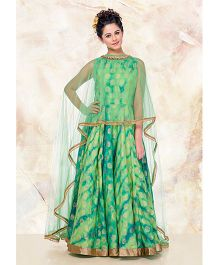 Peek-A-Boo Shaded Gown With Brocade Work - Light Green